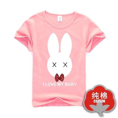 女Baby女童裝短袖T恤粉色可愛暈頭兔純棉短袖上衣現貨 歐美品質