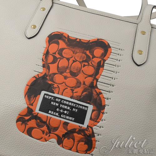 茱麗葉精品【全新現貨】 COACH 78203 Vandal Gummy小熊聯名肩背托特包.白