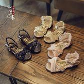 公主鞋 兒童鞋子雪紡蕾絲防滑軟底魚嘴女童涼鞋寶寶公主鞋潮 聖誕節交換禮物