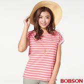 BOBSON 女款橫條、小連袖上衣(27082-10)