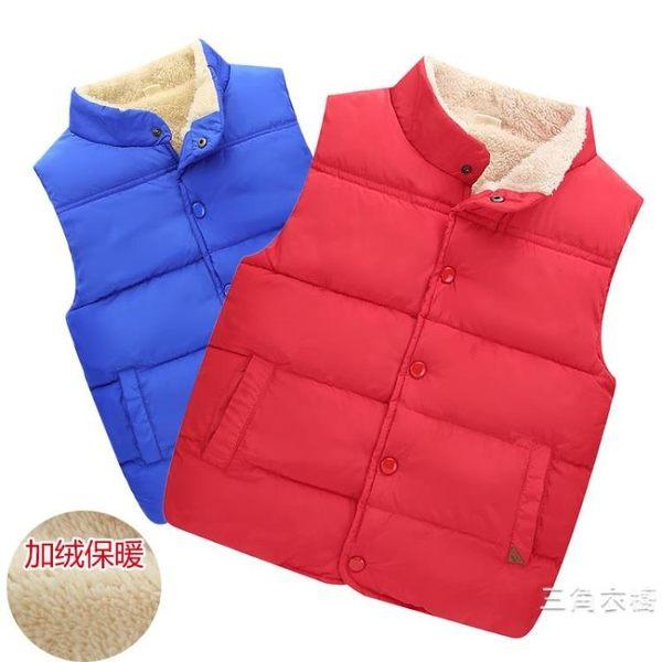 夏季裝新品加絨兒童羽絨棉馬甲男童女童中大童背心加厚坎肩棉衣外套