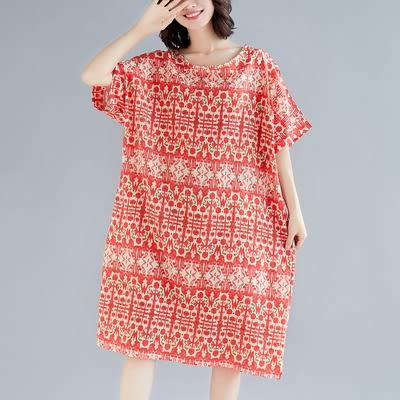 境外批發不退換大碼女裝1135胖mm文藝大碼寬松顯瘦連身裙ZL703-A衣人有約