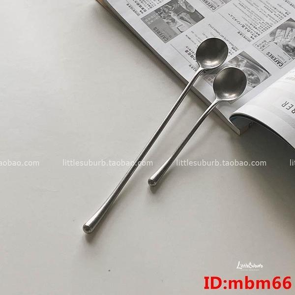 復古磨砂咖啡勺 不銹鋼做舊風格攪拌短勺長勺