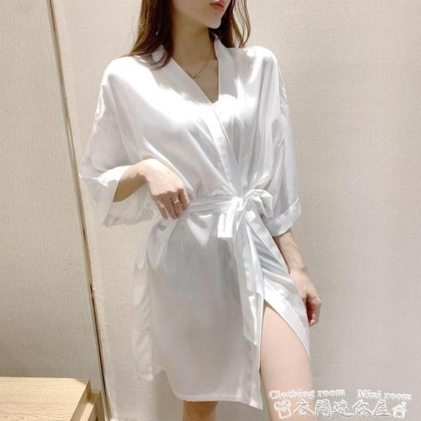 性感睡衣睡衣女冰絲夏季薄款白色性感睡袍七分袖和服酒店浴袍春家居服 迷你屋 新品