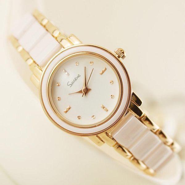 女士陶瓷手錶女白色韓版潮流石英表時尚休閒學生手錬款表防水    遇見生活