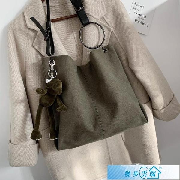 托特包大包包女2020新款潮韓版時尚斜背帆布包百搭大容量側背托特包 漫步雲端