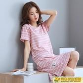 家居服 夏天短袖純棉睡裙女夏季寬鬆中長洋裝家居服全棉睡衣條紋加大碼 向日葵