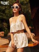 泳衣女三件套裙式韓國小香風性感小胸鋼托聚攏比基尼分體游泳衣 免運