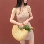 復古正韓chic風修身收腰夏季背心裙排扣素面 純色針織連身裙洋裝打底吊帶裙 【八二折下殺】