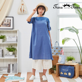 【Tiara Tiara】百貨同步新品aw  純色刺繡反摺袖圓領洋裝(藍/綠)