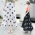雪紡波點半身裙女春夏年新款高腰時尚中長款a字大擺裙長裙潮  一米陽光