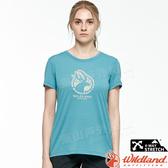 Wildland 荒野 0A81603-103牛仔藍 女LOGO印花圓領上衣 抗UV/涼爽散熱/舒適柔軟/運動休閒/旅遊*