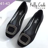 大尺碼女鞋-凱莉密碼-玩色新款氣質系好穿絨布方扣寬楦方頭平底鞋1cm(41-43)【BP136-5】黑色