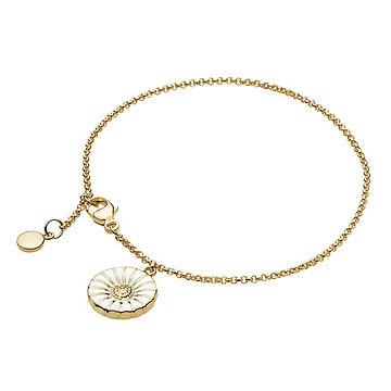 丹麥 Georg Jensen Jewellery Daisy 系列 雙面雛菊 金屬手鍊 / 掛飾(白色鍍金 16cm)