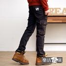 玩酷多袋魔鬼氈縮口牛仔工作長褲(黑色)● 樂活衣庫【7350】