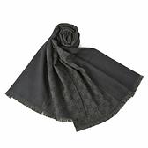 GUCCI雙G拚色緹花流蘇羊毛圍巾(黑灰色)348003-2