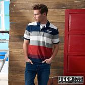 【JEEP】經典撞色條紋短袖POLO衫 (紅)