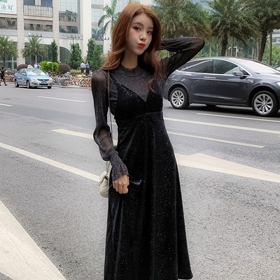 洋裝連身裙大碼S-4XL秋季時尚名媛氣質顯瘦網紅網紗鏤空袖金絲絨吊帶裙兩件套F019A依佳衣