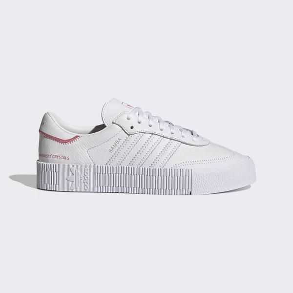 Adidas Sambarose W [H05131] 女鞋 運動 休閒 經典 穿搭 厚底 施華洛世奇 愛迪達 白 銀