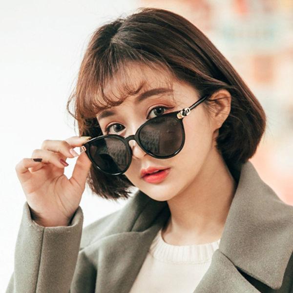 韓系百搭優雅大圓框墨鏡