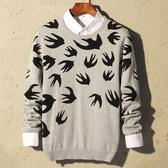 針織毛衣-圓領燕子圖案純棉修身男針織衫3色73pg14【巴黎精品】