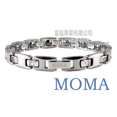 【MOMA】鎢鋼鍺磁手鍊至尊鑲鑽窄版-M82LD