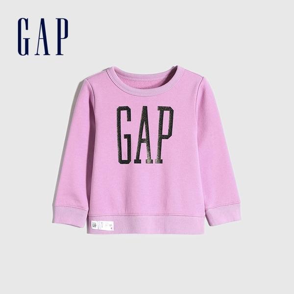Gap女幼童 Logo碳素磨毛抓絨圓領休閒上衣 656445-淡紫色