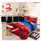 汽車總動員單人床包三件組 床包組 (被套/枕頭套/床包)-閃電麥坤床包 純棉【藍星居家】