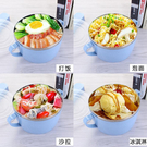 1入 雙耳帶蓋泡麵碗 不鏽鋼內膽小麥泡麵碗 雙層隔熱 方便麵碗 便當盒  保鮮碗【SV6873】BO雜貨