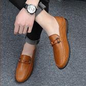 春季豆豆鞋男男鞋男士休閒皮鞋男懶人鞋一腳蹬韓版套腳鞋子男  卡布奇诺