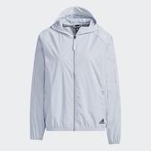 Adidas STR WB FILM 女裝 外套 連帽 風衣 拉鍊口袋 灰藍【運動世界】GP0669