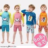 多款卡通印花兒童長袖防曬分體式泳裝 泳衣 泳褲 2件/組