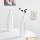 白色陶瓷干花花瓶家居擺件水培客廳裝飾工藝品道具【小獅子】