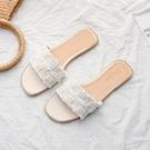 仙女拖鞋 小香風網紅涼拖鞋女外穿2021新款夏季時尚平底百搭珍珠仙女一字拖