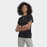 J- adidas R.Y.V. 黑白 雙標 短T 女款 短袖 上衣 休閒 舒適 三葉草 LOGO字樣 三線 GD3804