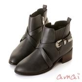 amai歐美圖騰銀釦交叉繞帶短靴 灰