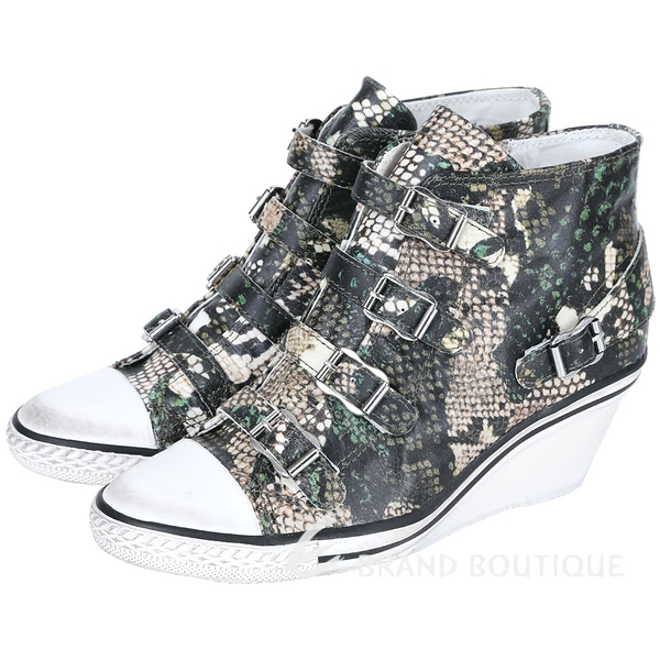 ASH GENIAL 蛇紋釦帶楔型休閒鞋(黑/綠) 1520723-99