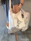帆布包 2019新款ins單肩帆布包大容量布袋包 日系學生帆布袋包包女斜挎 polygirl