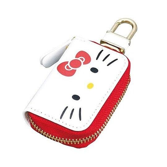 〔小禮堂〕Hello Kitty 皮質拉鍊鑰匙包《白紅.大臉》掛飾.收納包.遙控包 4905339-86634