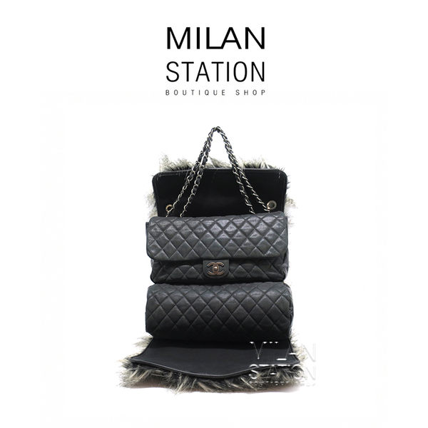 【台中米蘭站】CHANEL 限量可拆式三用後背包 (黑灰)