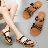 涼鞋夏季新款學生平底百搭涼拖鞋女鞋 店慶降價