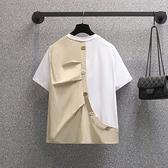 大碼短TL-4XL簡約中性后背紐扣設計拼接寬松短袖T恤女6962MR26韓衣裳