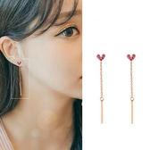 【NiNi Me】夾式耳環 氣質甜美愛心微鑲水鑽長款鏈條夾式耳環 夾式耳環 E0095