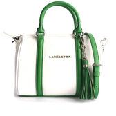 【LANCASTER】小牛皮手提/斜背波士頓包(MINI)(綠白拼色) 573-43 BLANC/VERT