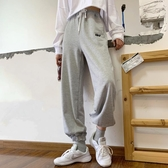 2020春季新款韓版鬆緊腰顯瘦束腳運動褲百搭字母休閒闊腿長褲女 降價兩天