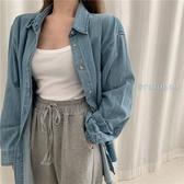 牛仔襯衫 2020新款夏季韓版設計感氣質長袖牛仔外套寬鬆中長款襯衫上衣女潮【快速出貨】