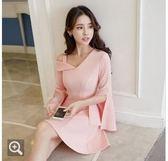 現貨韓版性感洋裝露肩禮服粉色S/33480/露肩破袖連身裙 皇潮天下