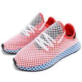 adidas 休閒慢跑鞋 Deerupt Runner W 紅 藍 網格設計 舒適中底 復古外型 女鞋 運動鞋【PUMP306】 AC8466
