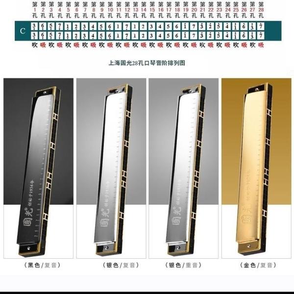 口琴28孔24孔成人高級演奏兒童初學者自學重音復音c調雙樂器