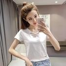 鏤空上衣 夏季正韓鏤空白色t恤女裝修身性感露臍短款短袖上衣服潮-Ballet朵朵